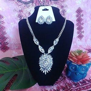 Statement Rhinestone Necklace Earrings Set